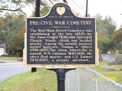 Pre-Civil War Cemetery Marker image. Click for full size.
