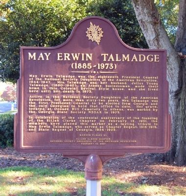 May Erwin Talmadge Marker image. Click for full size.