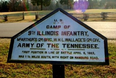 Camp of 9th Illinois Infantry Marker image. Click for full size.