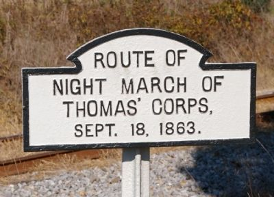 Route of Night March of Thomas' Corps Marker image. Click for full size.