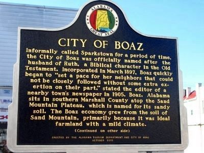 City of Boaz Marker - Side A image. Click for full size.
