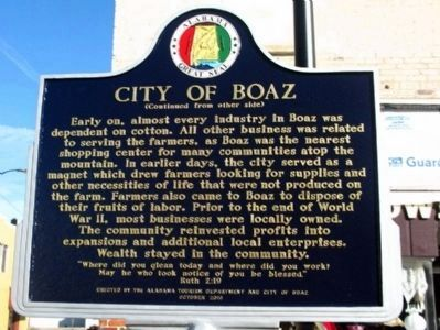 City of Boaz Marker - Side B image. Click for full size.