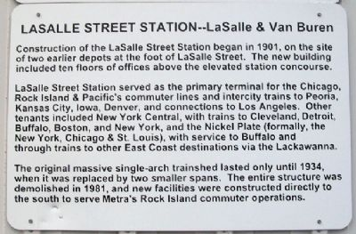 Chicago's LaSalle Street Station Marker image. Click for full size.