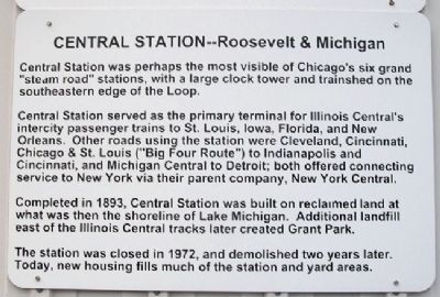 Chicago's Central Station Marker image. Click for full size.