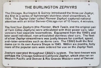 The Burlington <i>Zephyrs</i> Marker image. Click for full size.