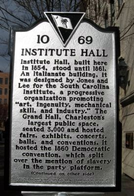"Institute Hall / ""The Union Is Dissolved!"" Marker image. Click for full size."
