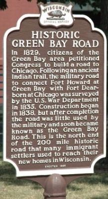 Historic Green Bay Road Marker image. Click for full size.