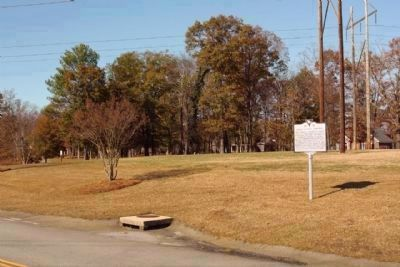 Saluda Factory Cemetery Marker, with two headstones seen in distant background image. Click for full size.