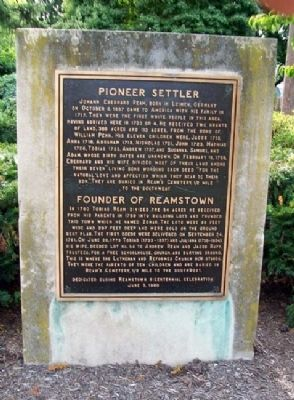 Pioneer Settler / Founder of Reamstown Marker image. Click for full size.