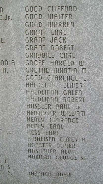 East Cocalico Twp World War II Memorial Honor Roll
