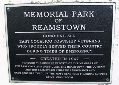 Memorial Park of Reamstown Marker image. Click for full size.