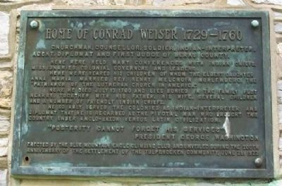 Home of Conrad Weiser, 1729-1760 Marker image. Click for full size.