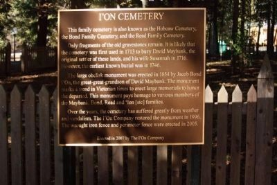 I'on Cemetery Marker image. Click for full size.
