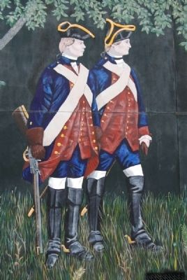 Saluda Old Town Treaty, July 2, 1755 Mural - Redcoats image. Click for full size.