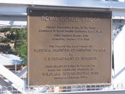 Royal Gorge Bridge Marker image. Click for full size.