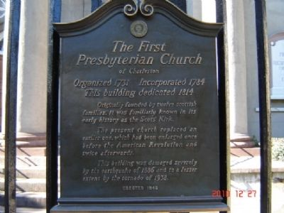 The First Presbyterian Church of Charleston Marker image. Click for full size.