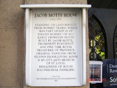 Jacob Motte House Marker image. Click for full size.