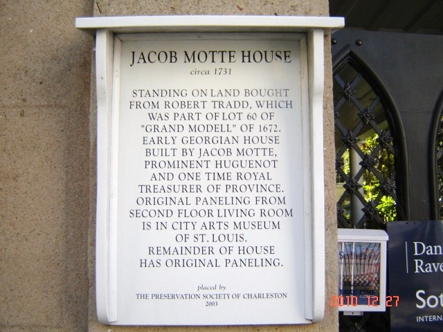 Jacob Motte House Marker
