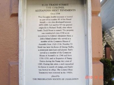 The Colonel Alexander Hext Tenements Marker image. Click for full size.