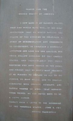 Washington Prayer on Burholme Memorial for Peace image. Click for full size.