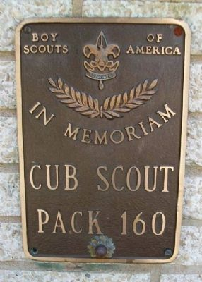 Cub Pack 160 Marker on Burholme Memorial image. Click for full size.