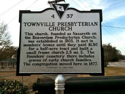 Townville Presbyterian Church Marker (front) image. Click for full size.