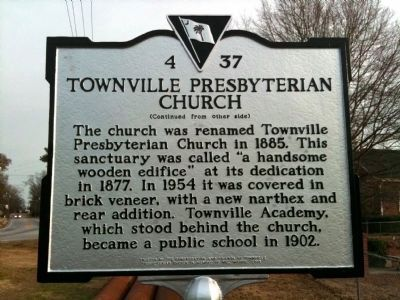 Townville Presbyterian Church Marker (reverse) image. Click for full size.
