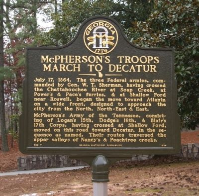 McPherson's Troops March to Decatur Marker image. Click for full size.