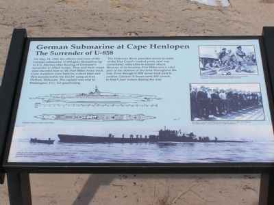 German Submarine at Cape Henlopen Marker image. Click for full size.