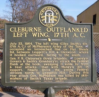 Cleburne Outflanked Left Wing, 17th A.C. Marker image. Click for full size.