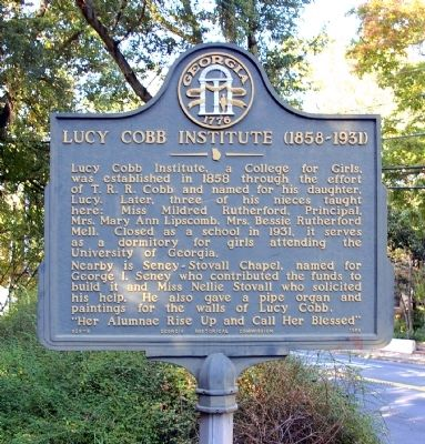Lucy Cobb Institute Marker image. Click for full size.