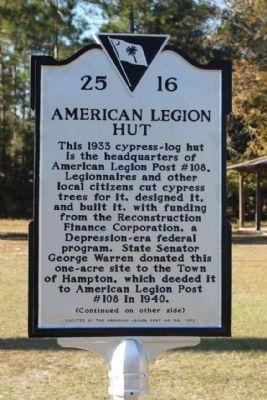 American Legion Hut Marker image. Click for full size.