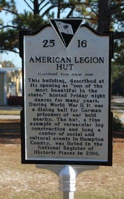American Legion Hut Marker, reverse side image. Click for full size.