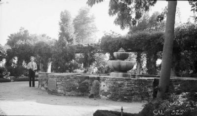 """View of fountain in mission park, mission property at one time"" (view from northeast) image. Click for full size."