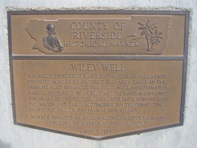 Wiley Well Marker image. Click for full size.