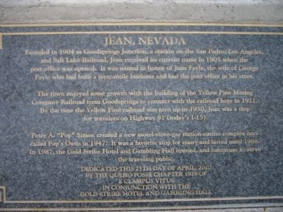 Jean, Nevada Marker image. Click for full size.