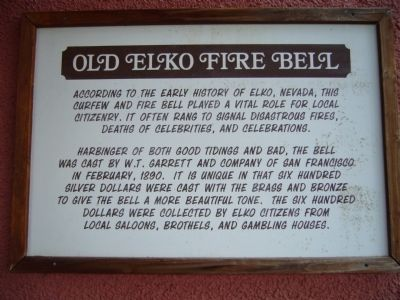 Old Elko Fire Bell Marker image. Click for full size.