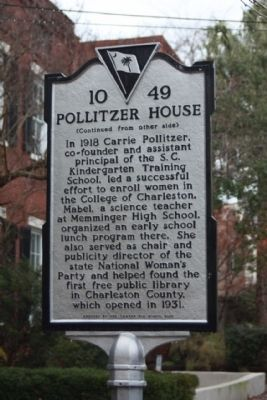 Pollitzer House Marker, reverse side image. Click for full size.