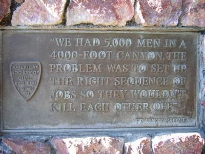 Plaque on the <i>right side</i> of the Frank T. Crowe Monument. image. Click for full size.