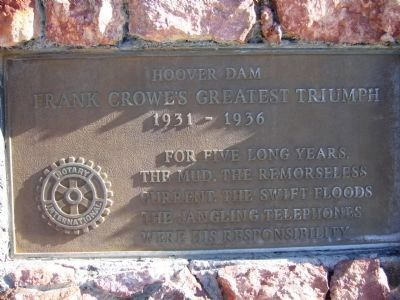 Plaque on the <i>left side</i> of the Frank T. Crowe Monument. image. Click for full size.