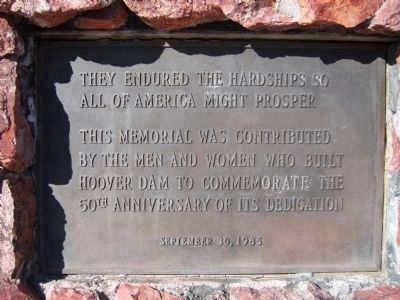 Plaque on the <i>Front Side</i> of the Hoover Dam Memorial image. Click for full size.