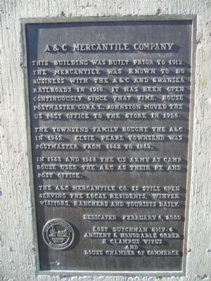 A & C Mercantile Company Marker image. Click for full size.