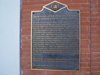 Morning Star Institutional Church of God in Christ, Inc. Marker image. Click for full size.