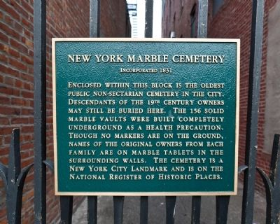 New York Marble Cemetery Marker image. Click for full size.