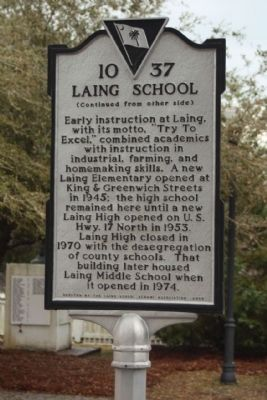 Laing School Marker, reverse side image. Click for full size.