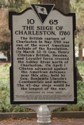 The Siege of Charleston, 1780 Marker image. Click for full size.