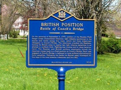 British Position at Cooch's Bridge Marker image. Click for full size.