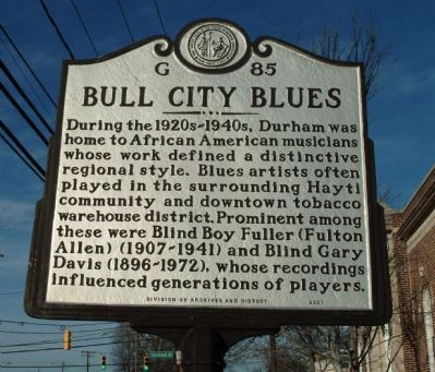 Bull City Blues Marker image. Click for full size.