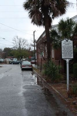The Parsonage / Miss Izard's School Marker, looking east along President's Place image. Click for full size.