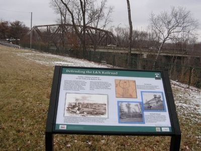 Defending the L&N Railroad Marker & bridge image. Click for full size.
